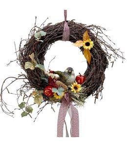Herbstkranz Birke mit Vogel