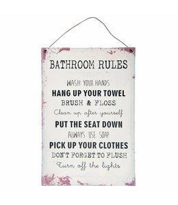 "Deko-Schild ""Bathroom Rules"" Vintage"