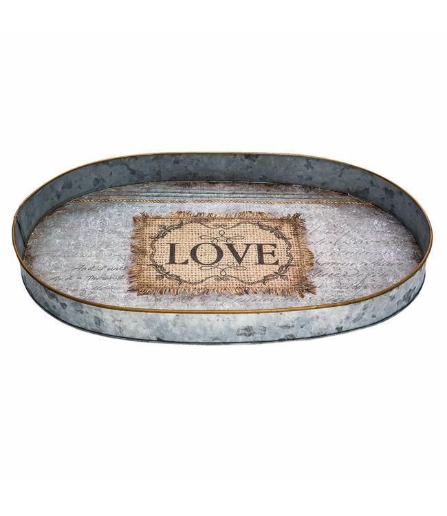 """Tablett oval """"Love"""" Vintage"""