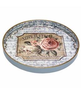 """Tablett rund """"Rosen"""" Vintage"""