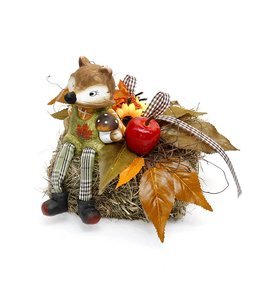 Herbstdeko Vintage Heuballen mit Fuchs und Herbstdekoration