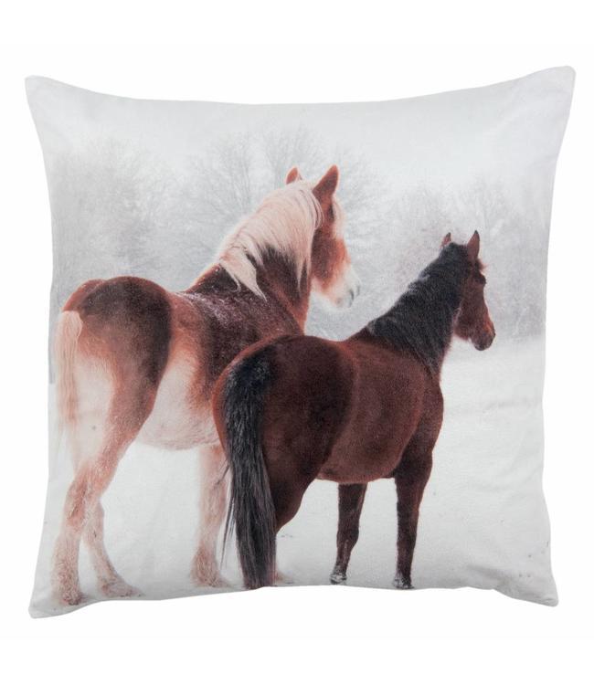 Kissenhülle Winter Pferde 40x40