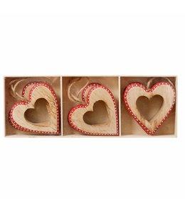 Holz-Anhänger Herz 6er-Set