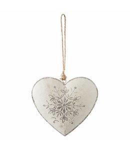 Weihnachtsdeko Anhänger Herz Silber - 6er Set