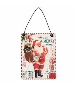 Weihnachtsdeko Deko-Schild Postkarte mit Weihnachtsmann - 6er Set