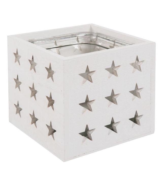 Teelichthalter weiß - Sterne