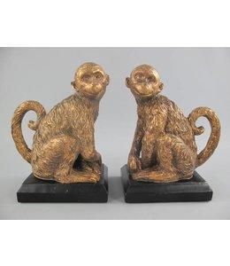 "Buchstützen-Set ""Affen"" Schwarz-gold"