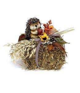 Strohballen mit Igel - Herbstdekoration