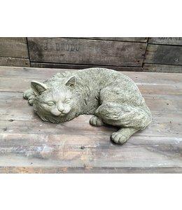 """Steinfigur """"Schalfende Katze"""" mit Antik-Patina für den Landhausgarten"""