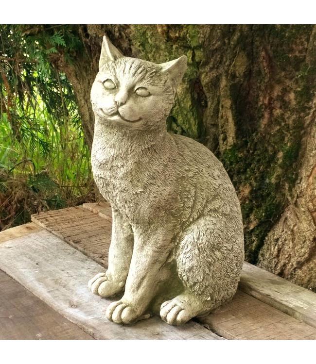 Steinfigur Katze mit Antik-Patina