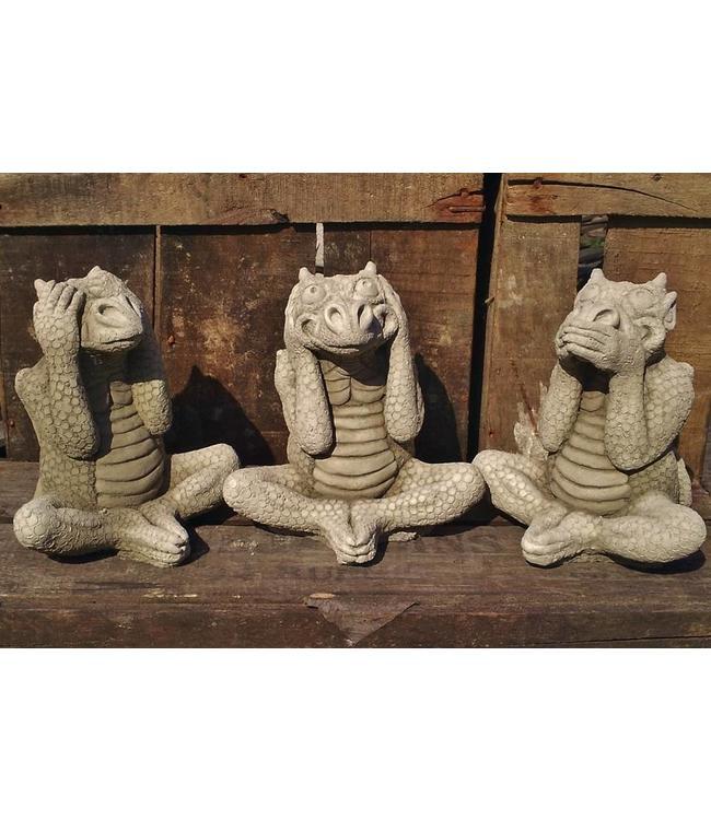 """Steinfiguren """"3 weisse Drachen"""" mit Antik-Patina"""