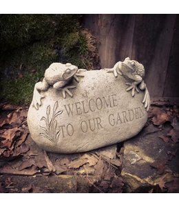 "Stein ""Welcome to our Garden"" mit Antik-Patina"
