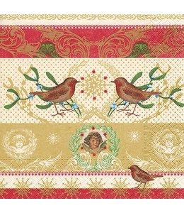 Servietten Vintage Servietten Rotkehlchen und Weihnachtsengel