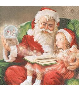 Servietten Vintage Servietten Weihnachtsmann mit Kind