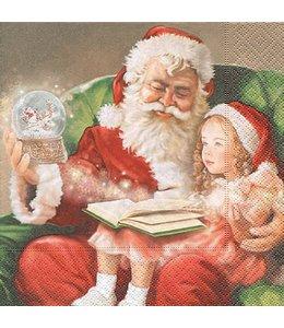 WEIHNACHTSDEKO LANDHAUS Servietten Weihnachtsmann mit Kind