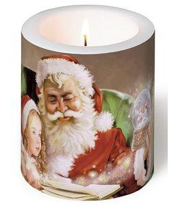 Servietten Vintage Kerze - Weihnachtsmann mit Kind