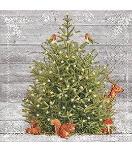 Servietten Vintage Servietten Tiere am Weihnachtsbaum