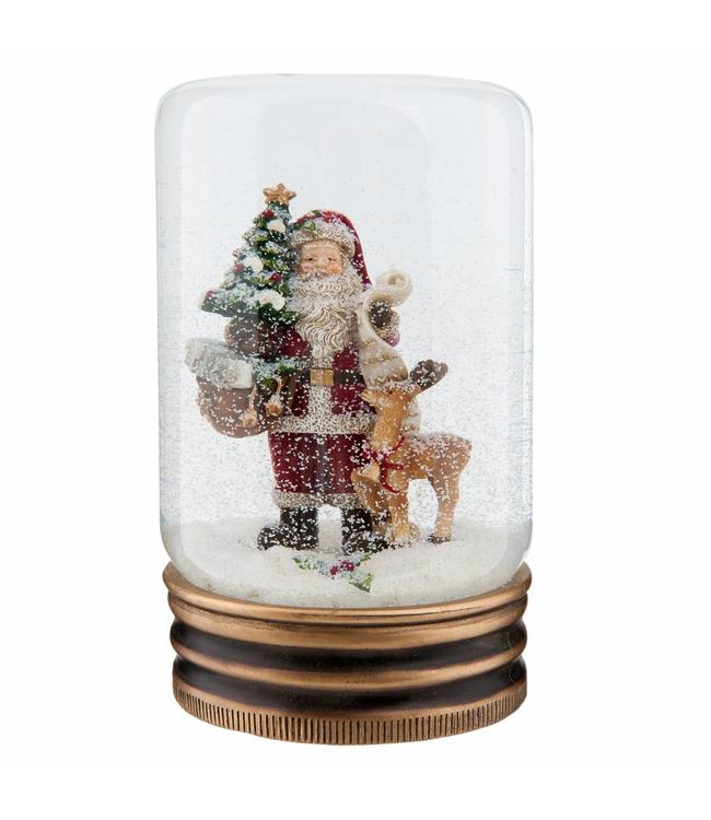 Schneekugel Weihnachtsmann mit Rentier