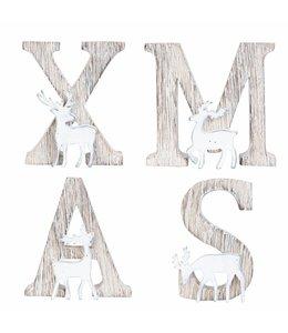 """Deko-Buchstaben """"XMAS"""" Altgrau, Vintage"""