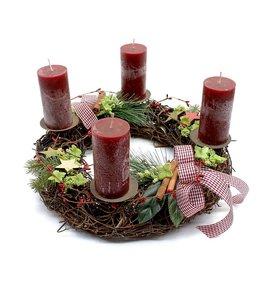 Weihnachtsdeko Vintage Weihnachtskranz mit roten Kerzen