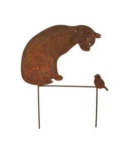 """Gartenstecker Rost """"Katze & Vogel"""" 50 cm"""