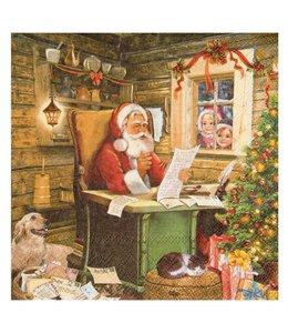 WEIHNACHTSDEKO LANDHAUS Servietten Weihnachtsmann mit Wunschzettel