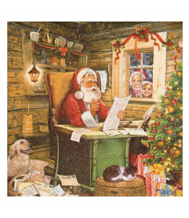 Servietten Weihnachtsmann mit Wunschzettel
