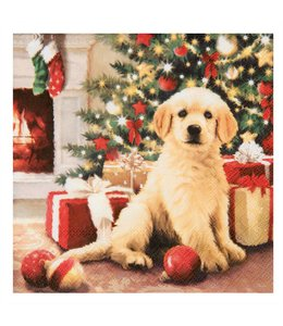 """WEIHNACHTSDEKO LANDHAUS Servietten """"Weihnachten mit Hund"""""""