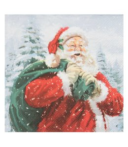 Papierservietten Weihnachtsmann mit Sack