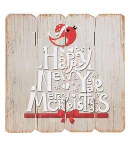 "Schild ""Happy New Year - Merry Christmas"""