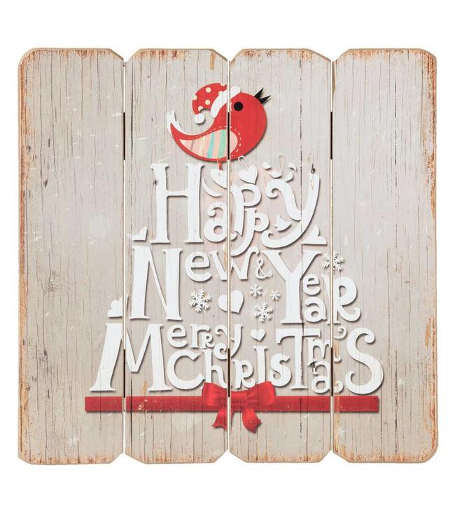 "Dekoschild ""Happy New Year - Merry Christmas"" Vintage"