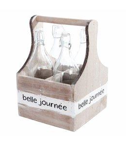 Clayre & Eef  Flaschenträger mit 4 Glasflaschen - Landhaus