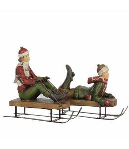 """Dekofigur """"Kinder mit Schlitten"""" Weihnachtsdeko im Vintage Stil"""