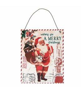 """Weihnachtsdeko Vintage Schild """"Weihnachtsmann mit Geschenke-Sack"""" Landhaus"""