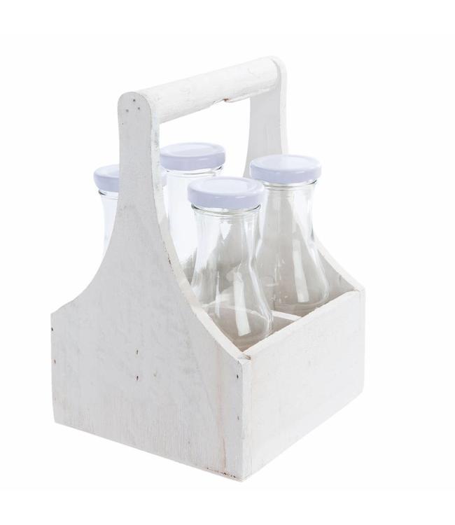 Flaschenkorb mit 4 Glasflaschen