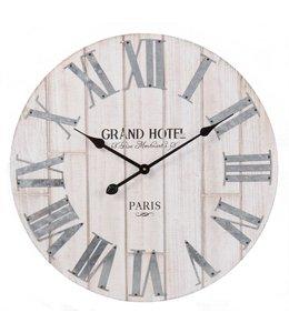 Wanduhr groß Vintage, Ø 61, Grand Hotel, Alt-weiß