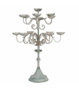 Großer Kerzenleuchter, Altblau Vintage, H 84
