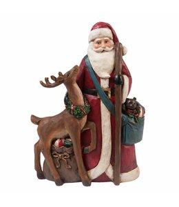 Nostalgischer Weihnachtsmann mit Rentier