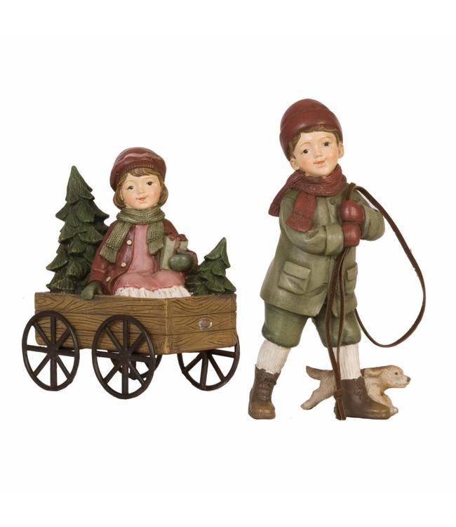 Kinder mit Handwagen