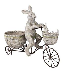 "Osterhase Vintage ""Hasenpapa mit Hasenkind auf Fahrrad"""