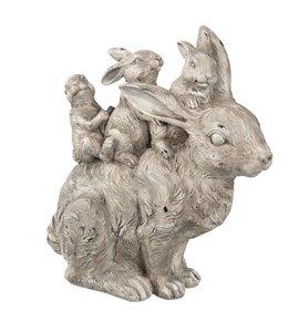 Osterdeko Vintage Hase mit Hasenkindern