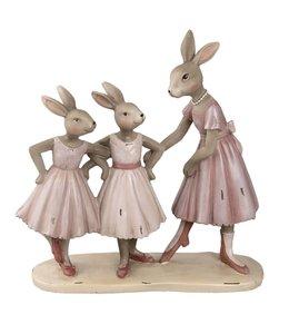 Osterdeko Vintage Hasenmutter mit Hasenkindern