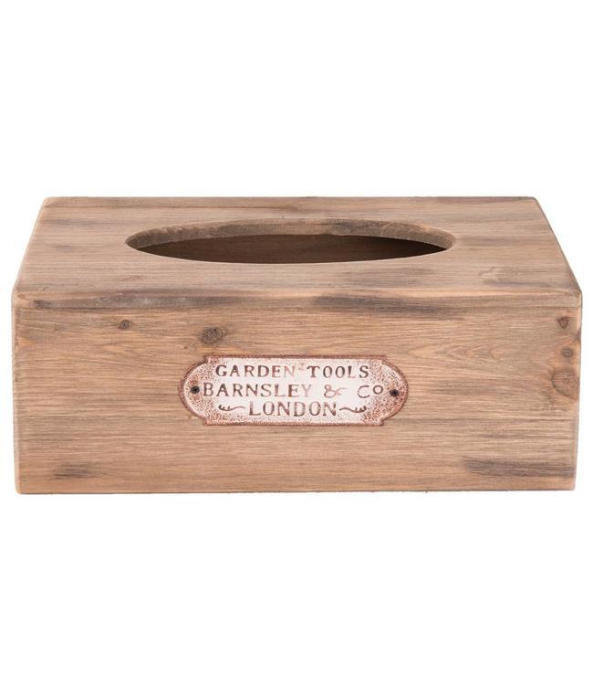 """Kosmetiktücherbox Vintage """"Gartenfreund"""" Holz"""
