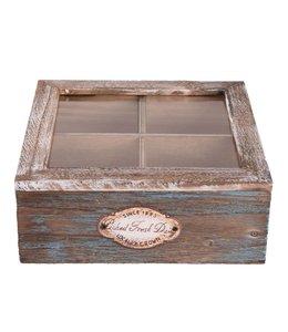 """Teeboxen Vintage Teebox Holz """"Blue Cottage"""""""