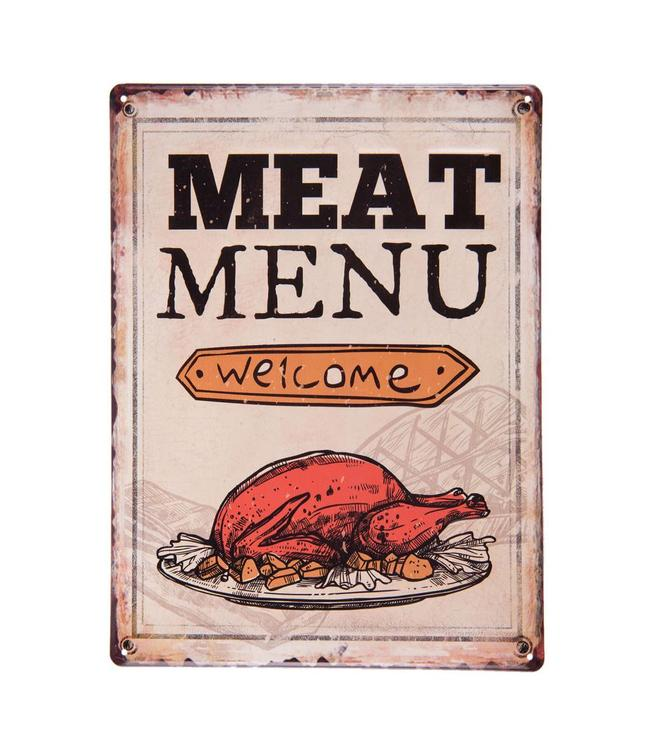 """Dekoschild """"Welcome - Meat Menu"""" Vintage"""