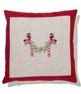 """Kissen Vintage Kissenhülle Weihnachten """"Rotkehlchen"""" 40x40"""