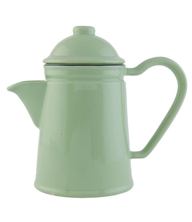 "Teekanne ""Emailie-Look"" Keramik, grün"