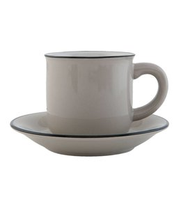"Kaffeetasse mit Untertasse ""Emaille Look"" Keramik, grau"