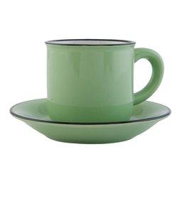 """Kaffeetasse mit Untertasse """"Emaille Look"""" Keramik, grün"""