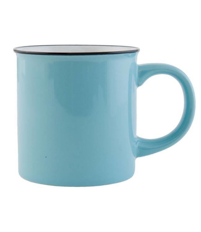 "Kaffeebecher ""Emaille Look"" Keramik, blau"